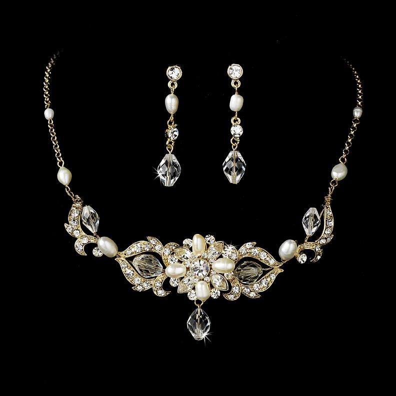 gold swarovski freshwater pearl bridal necklace