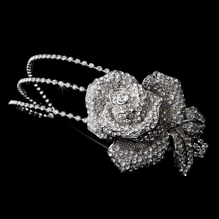 3087fd3dedac Bridal Side Accent Headband Swarovski Crystals   Rhinestones Large ...